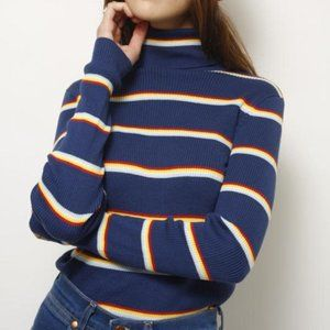 NWT Wrangler Rainbow Stripe Turtleneck Sweater